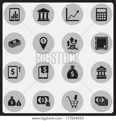 Set Of 16 Editable Financial Icons. Includes Symbols Such As Salary, Holdall, Money-Guard And More. Can Be Used For Web, Mobile, UI And Infographic Design.