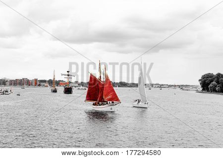 Rostock, Germany - August 2016: lots of sailing ship on Hanse Sail. Aerial photography