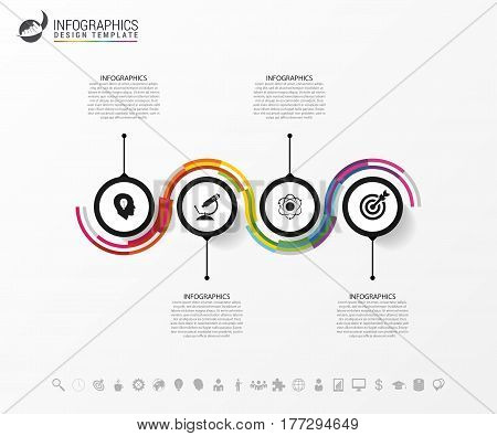 Inforaphic template with icons. Business concept with 4 options parts steps or processes.. Vector illustration