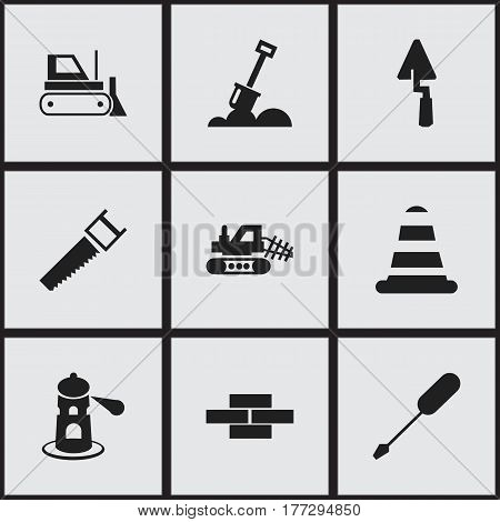 Set Of 9 Editable Structure Icons. Includes Symbols Such As Oar, Mule, Bulldozer And More. Can Be Used For Web, Mobile, UI And Infographic Design.