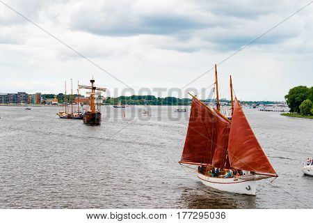 Rostock, Germany - August 2016: Sailing ship Phoenix on the baltic sea. Hanse-Sail Warnemuende at port Rostock, Mecklenburg-Vorpommern, Germany. Tall Ship.Yachting and Sailing travel. Cruises and holidays