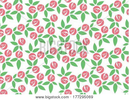 Abstract stylized pink rose with green laeves seamless pattern vector on white background