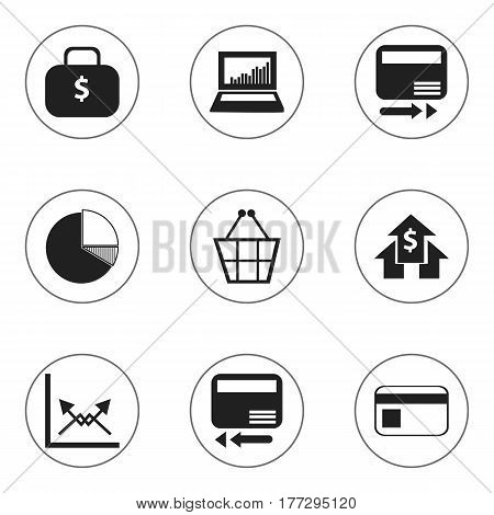 Set Of 9 Editable Logical Icons. Includes Symbols Such As Pay Redeem, Credit Card, Money Bag And More. Can Be Used For Web, Mobile, UI And Infographic Design.