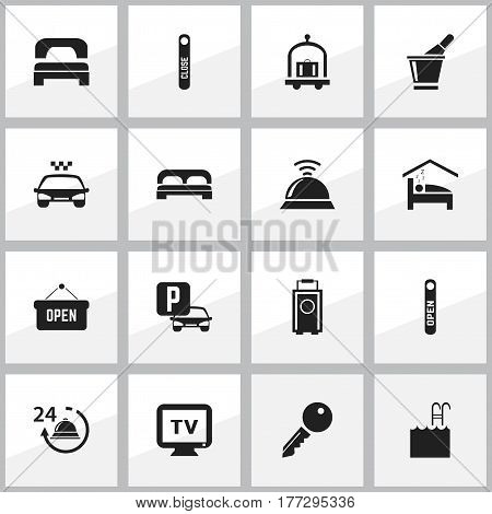 Set Of 16 Editable Motel Icons. Includes Symbols Such As Transport Car, Hotel Trolley, Sleeping And More. Can Be Used For Web, Mobile, UI And Infographic Design.