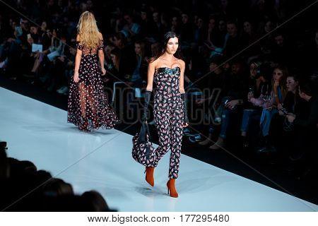 MOSCOW RUSSIA - MARCH 14 2017: Model walk runway for YASYA MINOCHKINA catwalk at Fall-Winter 2017-2018 at Mercedes-Benz Fashion Week Russia.