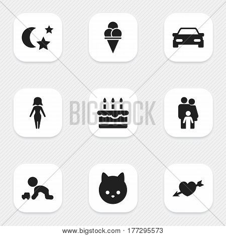 Set Of 9 Editable Folks Icons. Includes Symbols Such As Cold Dessert, Pussy, Midnight And More. Can Be Used For Web, Mobile, UI And Infographic Design.
