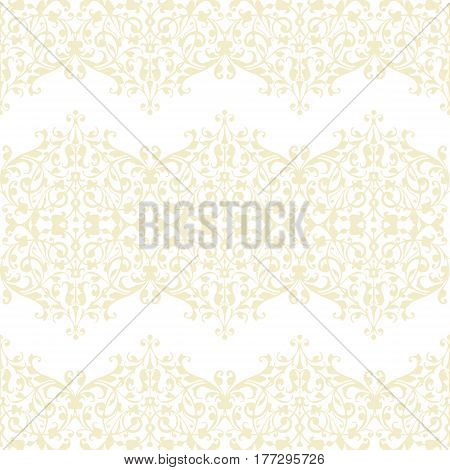 Abstract beige swirls seamless pattern vector on white background. Vintage wrapping paper design