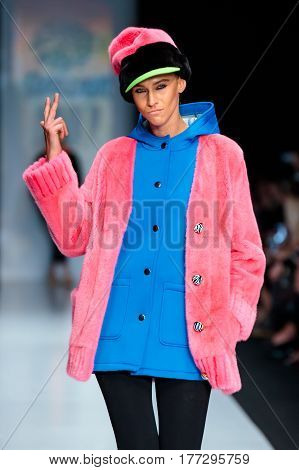 MOSCOW RUSSIA - MARCH 14 2017: Model walk runway for EKATERINA AKKHUZINA for EKATERINA FURS catwalk at Fall-Winter 2017-2018 at Mercedes-Benz Fashion Week Russia.