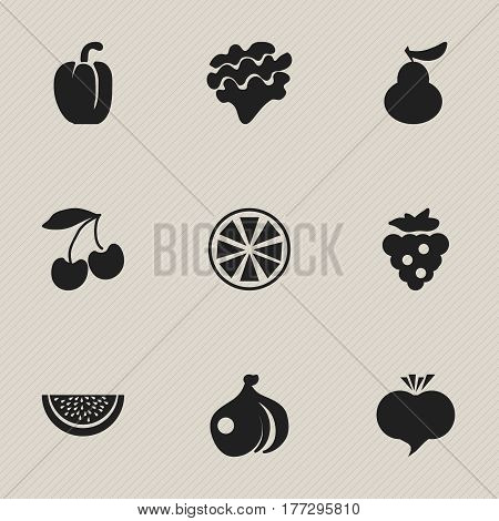 Set Of 9 Editable Vegetarian Icons. Includes Symbols Such As Cherry, Onion, Duchess And More. Can Be Used For Web, Mobile, UI And Infographic Design.