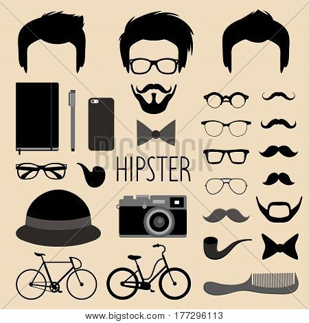 Big vector set of dress up constructor with different men hipster haircuts, glasses, beard, mustache, bikes in trendy flat style. Man faces icon creator