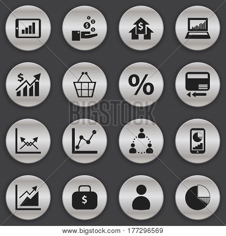 Set Of 16 Editable Logical Icons. Includes Symbols Such As Trading Purse, Banking House, User And More. Can Be Used For Web, Mobile, UI And Infographic Design.