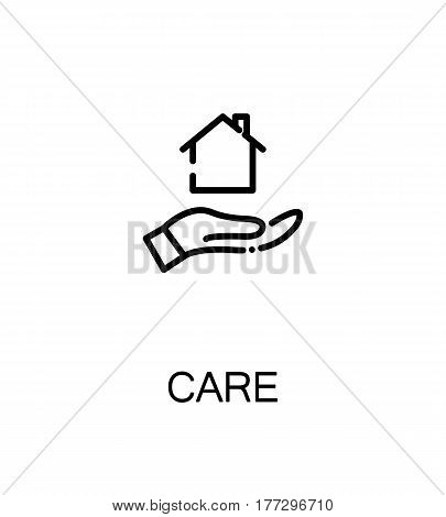 Care icon. Single high quality outline symbol for web design or mobile app. Charity thin line sign for design logo. Black outline pictogram on white background