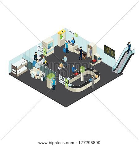 Airport interior isometric concept with passengers staff check-in counter terminal customs control departure lounge vector illustration