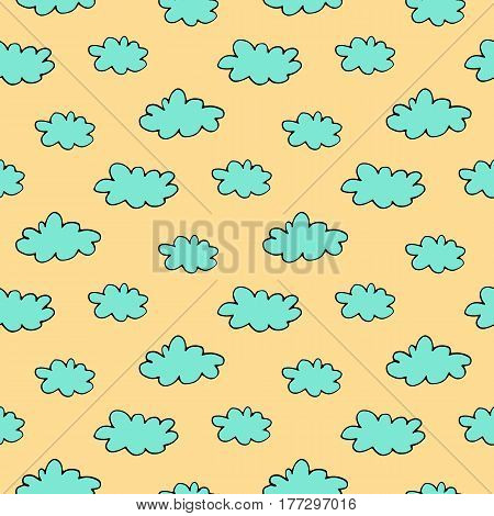 Sweet cartoon cloud pattern with hand drawn doodle clouds. Cute vector colorful cloud pattern. Seamless cheerful cloud pattern for fabric, wallpapers, wrapping paper, cards and web backgrounds.