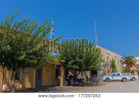 Rethymno, Greece - August  4, 2016:  Police Station.