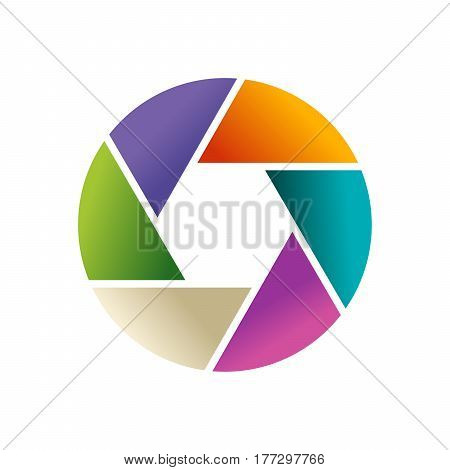 Multi-colored Vector Logo In The Form Of Lens And Diaphragm Of Photoappar On White Background