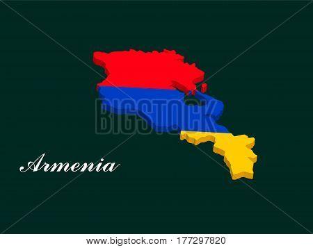 Armenia map vector with the armenian flag on dark green background