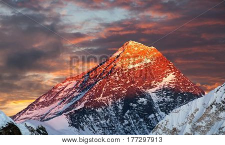 Evening colored view of Mount Everest from Gokyo Ri Khumbu valley Solukhumbu Sagarmatha national park Nepal