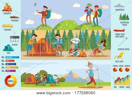Backpacking and hiking brochure with different touristic recreations camping equipment and elements vector illustration