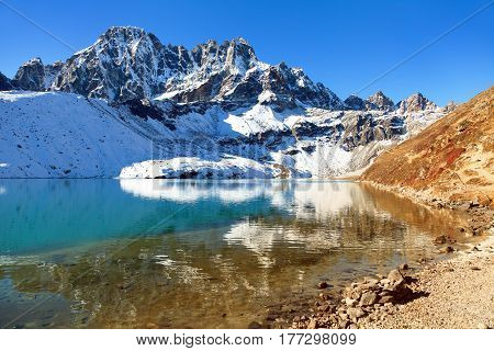 Dudh pokhari Gokyo lake and Phari Lapche peak - Gokyo - Way to Cho Oyu Base Camp - Nepal