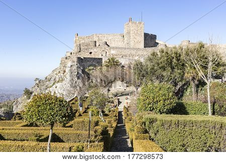 Ancient Castle in Marvão town and the garden inside the city wall, Portalegre District, Portugal