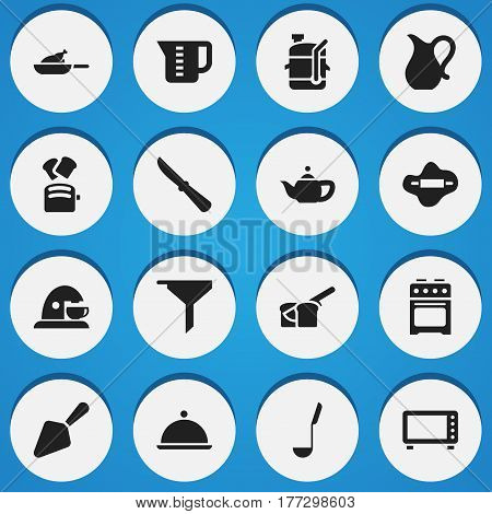 Set Of 16 Editable Cook Icons. Includes Symbols Such As Salver, Dough, Cup And More. Can Be Used For Web, Mobile, UI And Infographic Design.