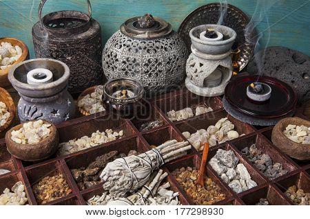 Various kinds of incense: myrrh, frankincense, messer, copaiba, elemi camonya, palo santo, salvia apiana,gowe -thiouraye, borena