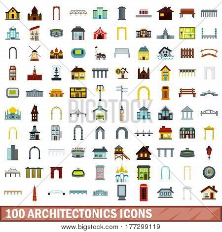 100 architectonics icons set in flat style for any design vector illustration
