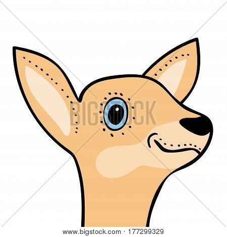 Cute funny deer head cartoon. Vector illustration