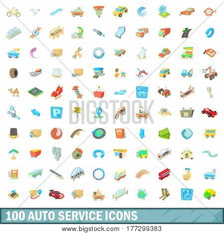 100 autoservice icons set in cartoon style for any design vector illustration