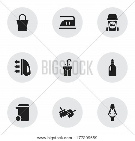 Set Of 9 Editable Cleanup Icons. Includes Symbols Such As Sink, Brooming, Trash Bin And More. Can Be Used For Web, Mobile, UI And Infographic Design.