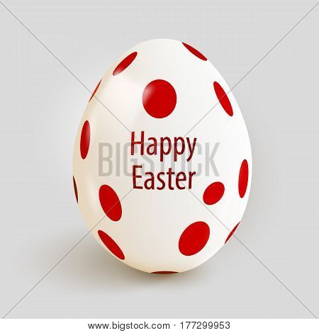 Realistic Easter egg with red spots. Happy Easter. Vector illustration