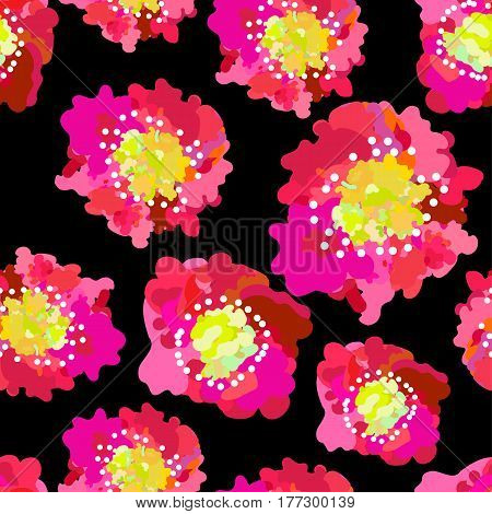 Abstract seamless pattern of pink poppies isolated on black background