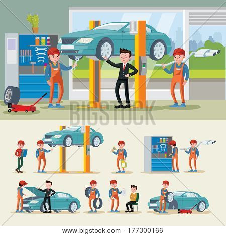 Auto mechanics composition with different car repair services and engine diagnostic in workshop vector illustration