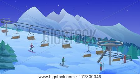 Night winter leisure activity template with skiing snowboarding people and cableway with cabins vector illustration