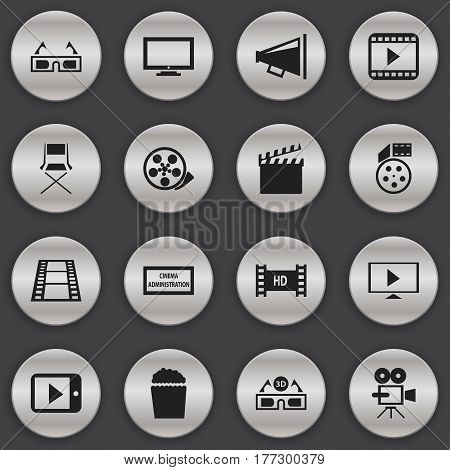 Set Of 16 Editable Cinema Icons. Includes Symbols Such As Tape, Cinema Snack, Start Video And More. Can Be Used For Web, Mobile, UI And Infographic Design.