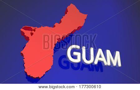 Guam GU Protectorate Territory Map Name 3d Illustration poster