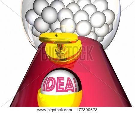 Idea Gumball Machine Inspiration Imagination 3d Illustration