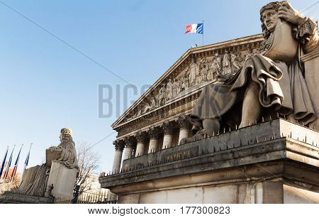 The French national Assembly-Bourbon palace(the lower house of the parliament) Paris France.