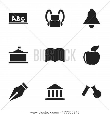 Set Of 9 Editable School Icons. Includes Symbols Such As Fresh Fruit, School Board, Phial And More. Can Be Used For Web, Mobile, UI And Infographic Design.