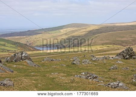 Meldon reservoir and Dartmoor from Sourton Tor