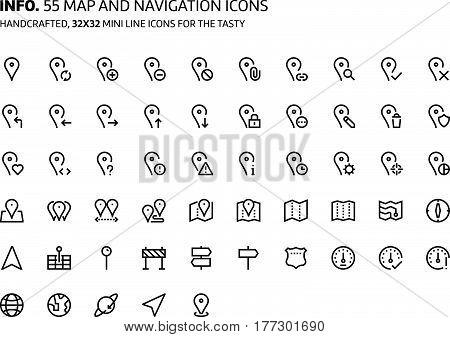 Map Mini Line, Illustrations, Icons