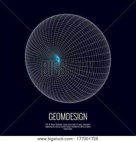 3d vector torus. Science, technological design element