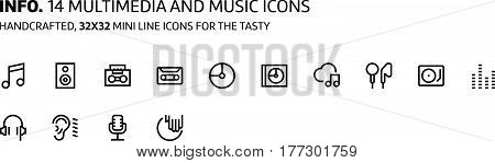 Music Mini Line, Illustrations, Icons