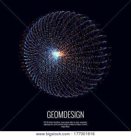 Abstract geometric shape consists of dots. Burst of craft in space designed with particles element.
