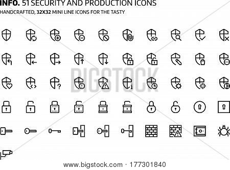 Security Mini Line, Illustrations, Icons