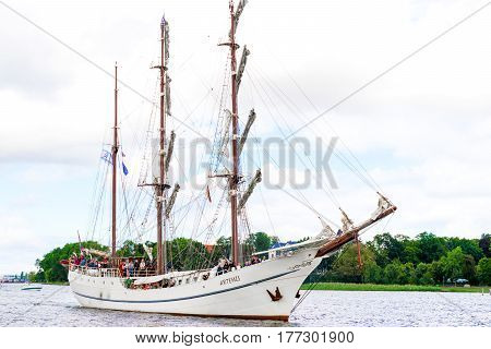 Rostock, Germany - August 2016: three-masted sailing ship Artemis. Hansesail in Warnemuende and Rostock harbor.