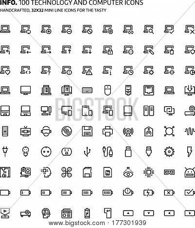 Technology And Gaming Mini Line, Illustrations, Icons