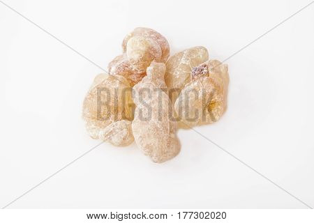 Light red  color Frankincense resin from Oman, isolated on  the white background