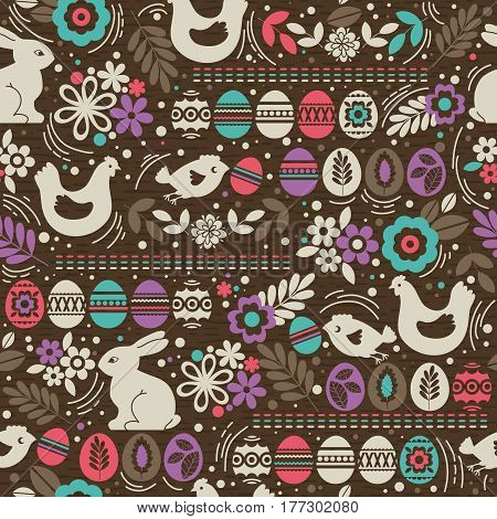 Seamless brown pattern with color easter eggs rabbit flowers and hen. Ideal for printing onto fabric and paper or scrap booking vector illustration